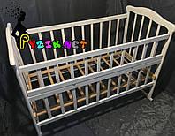 Кровать детская белая ольха (колеса, качалка, опускной борт), фото 1