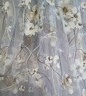 """Белая тюль печать """"Бежевый цветочек"""", оптом"""