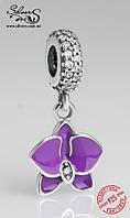 """Серебряная подвеска-шарм Пандора (Pandora) """"Фиолетовая орхидея"""" для браслета"""
