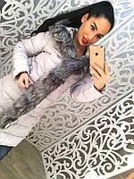 Стильное удлиненное женское пальто отделка по змейке и капюшону мех(съемный)
