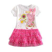 Детское нарядное платье свинка Пеппа с стразами