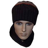 Вязаная мужская шапка - носок ( утепленный вариант), в этническом стиле