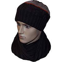 Вязаная мужская шапка - носок (утепленный вариант) и шарф с норвежскими орнаментами