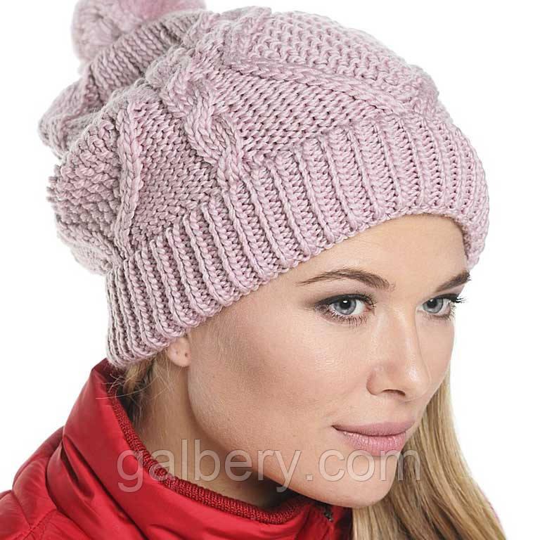 женская вязаная шапка носок объемной крупной вязки косами