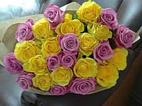 25 желтых и розовых роз.