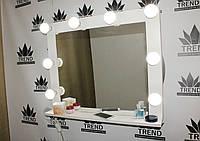 Зеркало с рамой, в белом цвете. Гримерное зеркало с лампочками