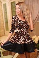 Женское леопардовое платье-клешь