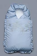 """Конверт на выписку зимний голубой """"Снежинки"""" Модный карапуз ТМ Голубой"""