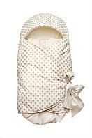 Конверт на выписку для новорожденных, подходит для автокресла Модный карапуз ТМ Бежевый горох