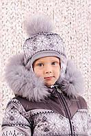 """Шапка зимняя """"Скандинавия"""" для мальчика Модный карапуз ТМ Фиолетовый"""