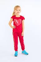 Брюки для девочек спортивные (красные) Модный карапуз ТМ Красный