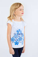 """Детская футболка для девочки """"Море"""" (белая) Модный карапуз ТМ Белый с голубым"""