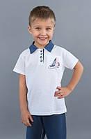 Детские шорты-бермуды для мальчиков синие (поло) Модный карапуз ТМ Белый