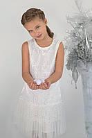 Нарядное новогоднее платье для девочки с гипюром Модный карапуз ТМ Белый