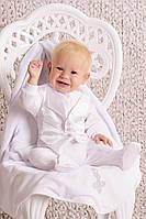 Набор крестильный для мальчика (комбинезон), с крыжмой Модный карапуз ТМ Белый