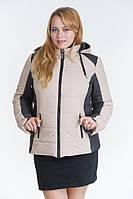 Женская осенняя куртка №15 беж-черный (беж-синяя, черная-беж)