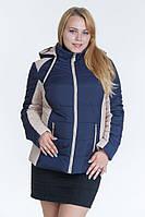 Женская осенняя куртка №15 синий-беж (синий-красный)