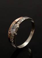 Кольцо из серебра с золотыми накладками 375 пробы - Кристалл