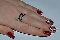 Кольцо из серебра с накладками золота - Змейка