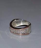 Серебряное кольцо с золотыми вставками - Волна
