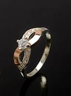 Серебряное кольцо с золотыми плаcтинами 375 пробы -Маска