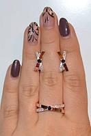Серебряные набор кольцо и серьги- Liberty