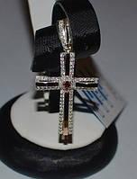 Серебряный крестик с золотыми пластинами