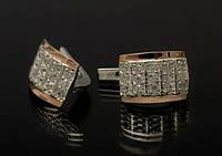 Серьги серебряные с пластинами золота - Юнона