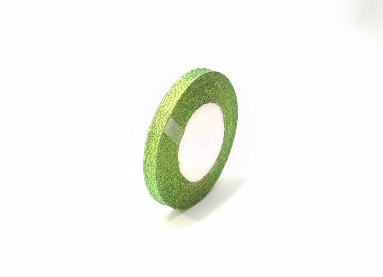 Лента флористическая люрекс 1см  зеленая