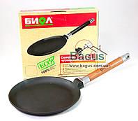 Сковорода чугунная блинная 220х20мм со съемной деревянной ручкой, чугунная посуда Биол (04221)
