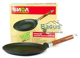 Сковорода чугунная блинная 240х20мм со съемной деревянной ручкой, посуда чугунная Биол (04241)