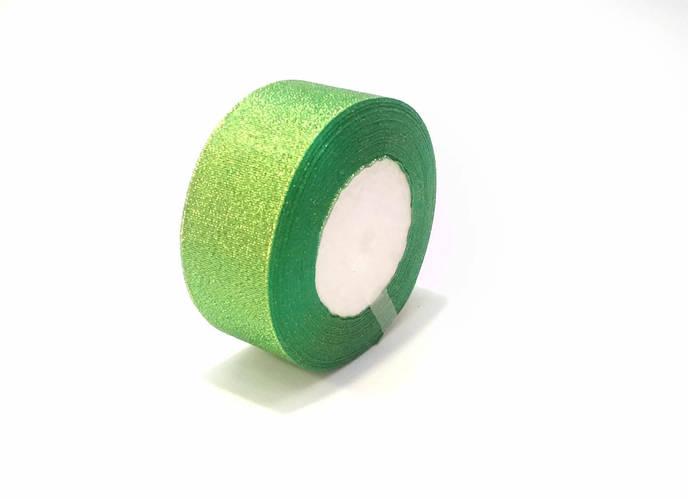 Лента люрекс 4 см зеленая флористическая