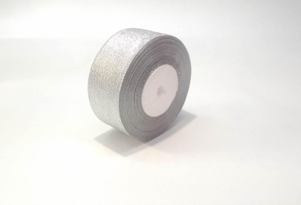 Лента декоративная  парча флористическая 4 см серебрянная