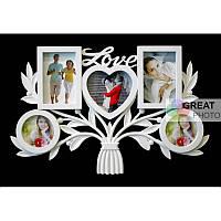 Мультирамка в виде букета Love (Любовь) на 5 фото белого цвета