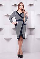 Платье Августа д/р лапка-синяя отделка