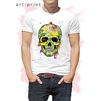 Футболка мужская белая рисунок Colorful skull