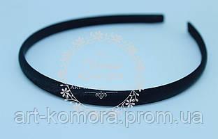 Обруч пластиковый в атласе черный, 7 мм.