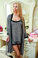 Женская пижама и халат леопард