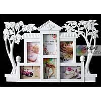 Мультирамка на 6 фотографий дом с деревьями, цвет: белый 42х63 см