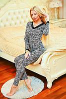 Женская леопардовая пижама шелк-вискоза