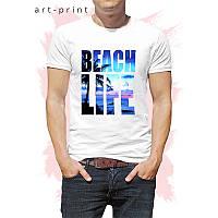 Футболка белая мужская с рисунком Пляжная Жизнь