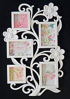 Мультирамка Фоторамка с цветами на 5 фотографий, белая