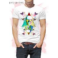 Яскрава чоловіча футболка бавовна біла з малюнком Colorful Art Skull, фото 1