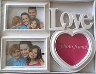 Мультирамка Фоторамка Love на 3 фотографий, белая