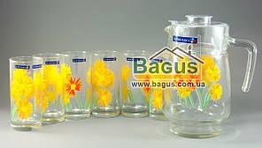 """Набор питьевой кувшин 1,6л + 6 стаканов 270мл """"MARGUERITE"""" Luminarc G1984"""