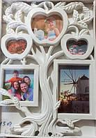 Мультирамка Фоторамка Дерево на 5 фотографий, белая