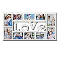 Мультирамка Фоторамка Love на 10 фотографий, белая