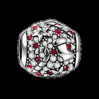 """""""Рождественский подарок бело-красный"""" подвеска-шарм  на браслет серебро 925 Soufeel"""