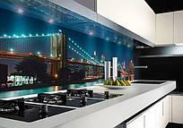Кухонный фартук из стекла - Город
