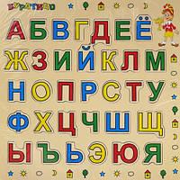 Деревянная рамка-вкладыш Азбука Буратино (русская)